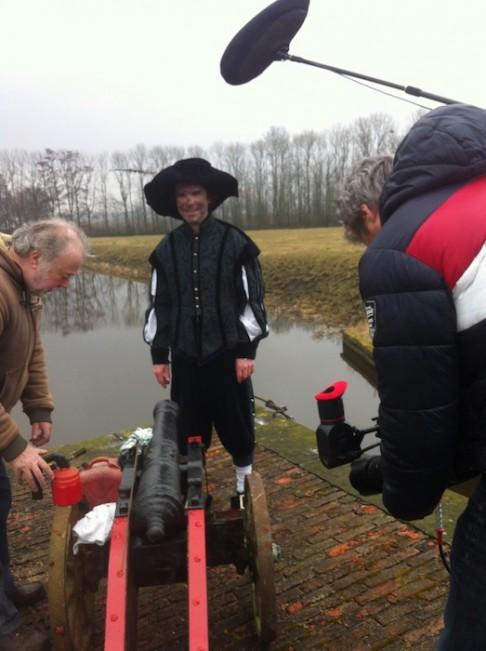 Arno van der Heyden in actie bij de filmopnamen