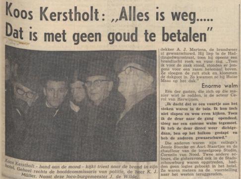 Aart Staartjes in 1966 bijna slachtoffer brand bij Koos Kerstholt
