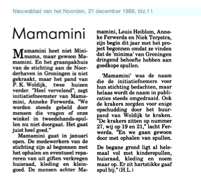 krantenbericht Mamamini