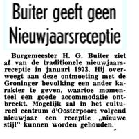 Aankondiging afschaffing traditionele recepties in het Nieuwsblad van het Noorden 9-12-1972