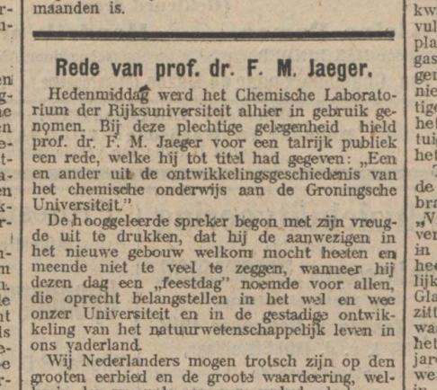Opening scheikundig laboratorium, NvhN 23-11-1912.