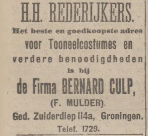 De 1e advertentie met de naam F. Mulder, 5-12-1914