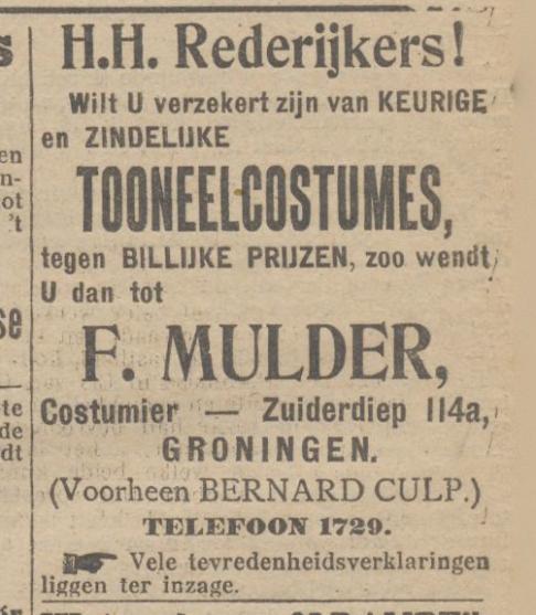 De 1e advertentie als Fa. Mulder, 3-3-1915